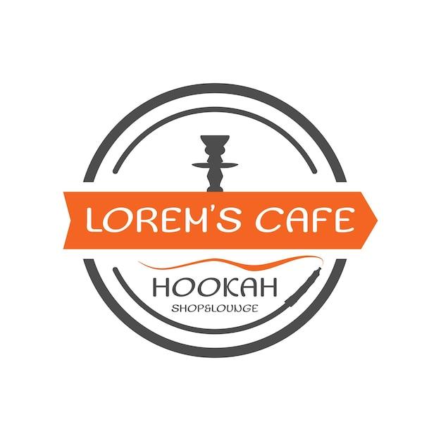 Etiqueta do cachimbo de água, crachá. logotipo do estilo redondo do shisha vintage. emblema do café lounge. bar ou casa árabe, loja. isolado. ilustração em vetor de estoque.