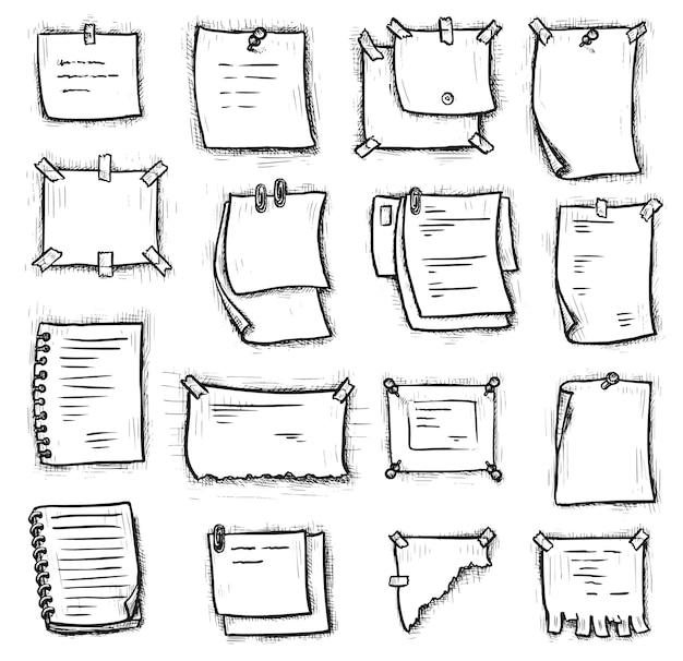 Etiqueta do caderno. entregue a nota de papel desenhada pendurada, fixada ou fixada na parede branca. scrapbooking, bloco de notas em espiral, anúncio, ilustração de elemento de folha de página rasgada. conjunto de ícones de gravura