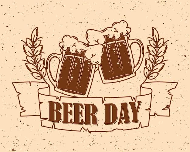 Etiqueta do dia da cerveja com potes
