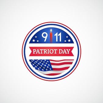 Etiqueta do dia do patriota com bandeira americana