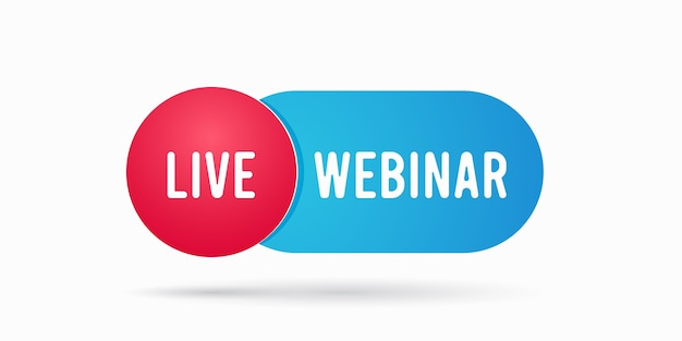 Etiqueta do emblema do botão do webinar ao vivo para ilustração de streaming