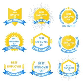 Etiqueta do empregado do mês. ilustração vetorial