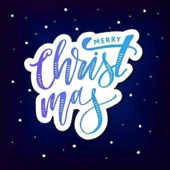 Etiqueta do feriado do texto da escova da caligrafia da rotulação do natal