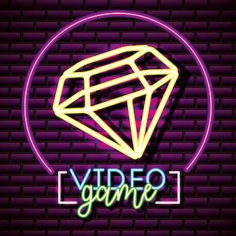 Etiqueta do jogo de vídeo dos diamons, parede de tijolo, estilo de néon
