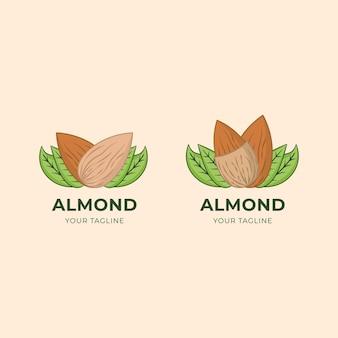 Etiqueta do logotipo do amendoim da amêndoa