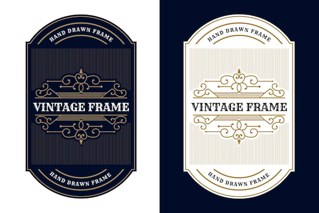 Etiqueta do logotipo vintage royal luxo frames