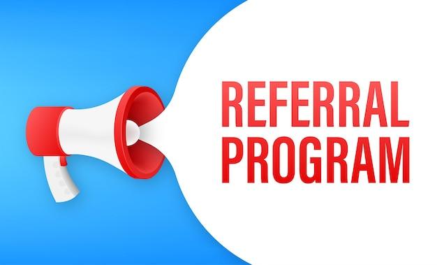 Etiqueta do megafone com programa de referência. banner do megafone. designer de web. ilustração em vetor das ações.