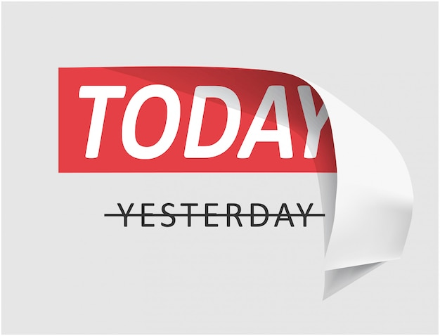 Etiqueta do slogan de hoje descascada fora da ilustração
