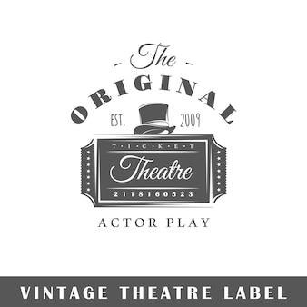 Etiqueta do teatro isolada. modelo de logotipo