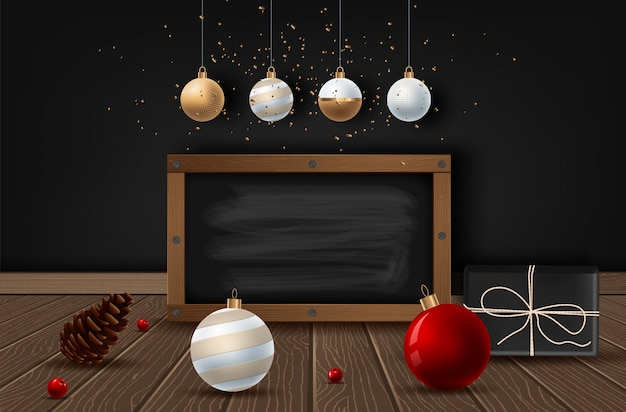 Etiqueta do texto do giz do vintage do natal em um quadro-negro.