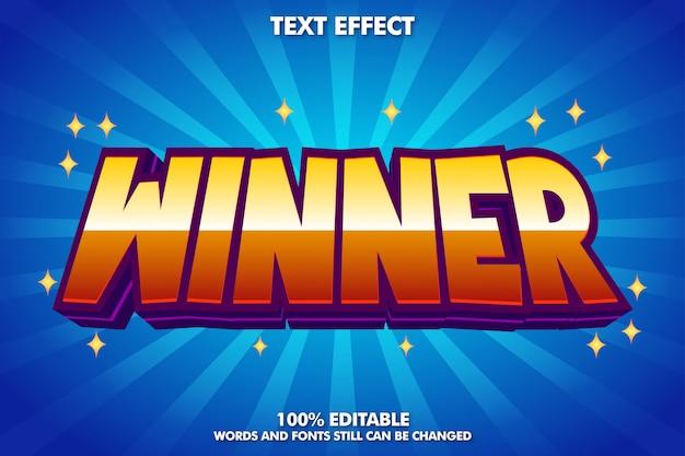 Etiqueta do vencedor, efeito de texto editável dos desenhos animados