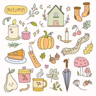 Etiqueta do vetor queda outono elemento dos desenhos animados ilustração doodle emblemas. conjunto de coleta de planejador de ícone de mão desenhada.