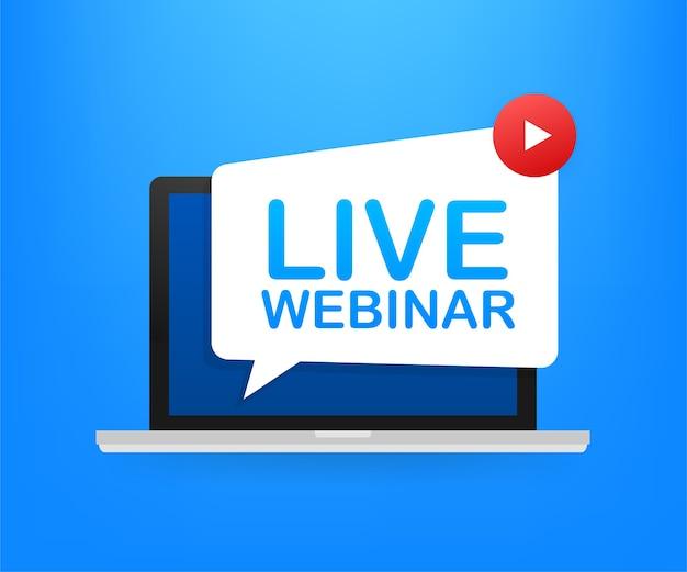 Etiqueta do webinar ao vivo na ilustração da tela do laptop