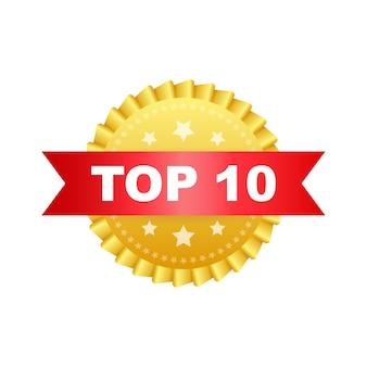 Etiqueta dos 10 principais. ícone de coroa de louros dourada. ilustração em vetor das ações.