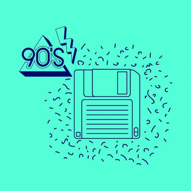 Etiqueta dos anos 90 com disquete