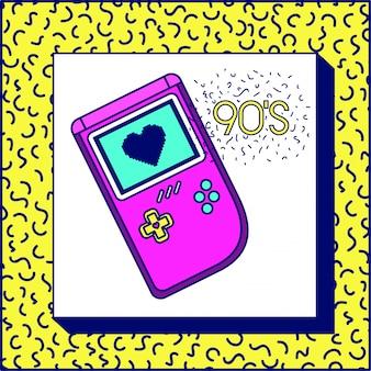 Etiqueta dos anos 90 com jogo de vido retro