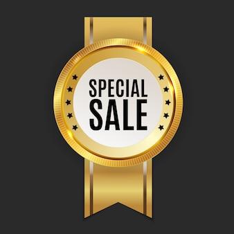 Etiqueta dourada de venda especial.