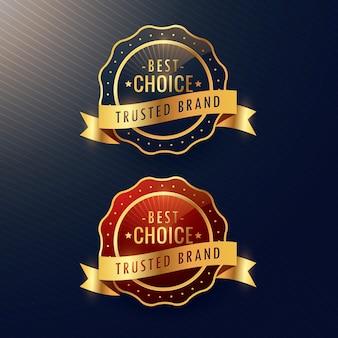 Etiqueta dourada melhor escolha marca de confiança e conjunto de crachá