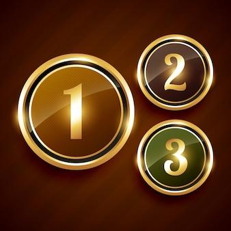 Etiqueta dourada número um dois três premium