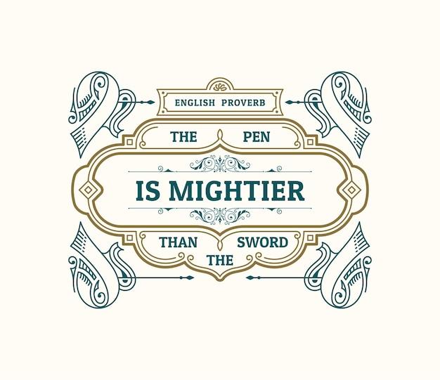 Etiqueta e cartão vintage design caligráfico de moldura dourada