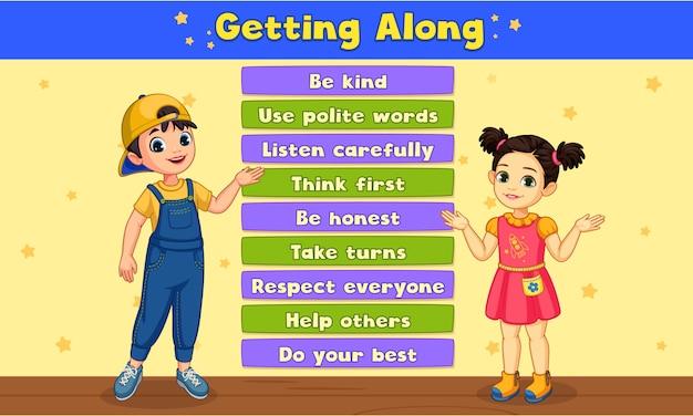 Etiqueta e educação crianças ilustração