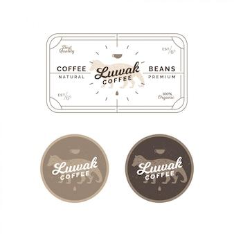 Etiqueta e emblema do café do civet