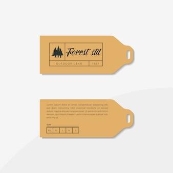 Etiqueta e etiqueta de roupa, incluem o conceito de design de logotipo de engrenagem ao ar livre editável.
