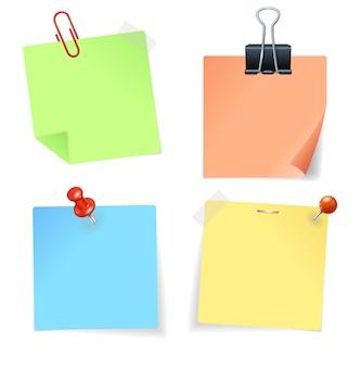 Etiqueta e pino de papel colorido. ilustração vetorial