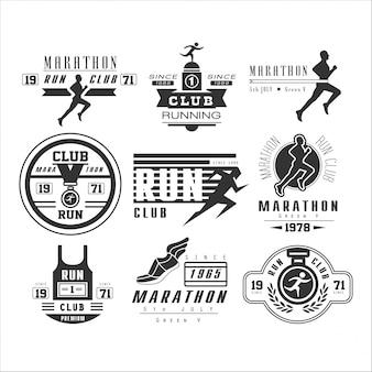 Etiqueta, emblema e logotipos clube de corrida