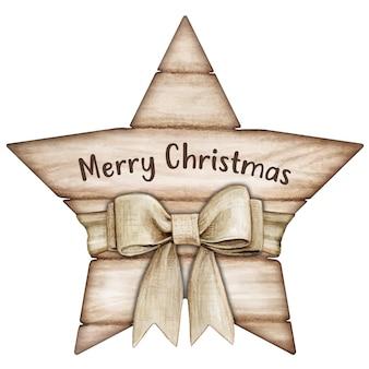 Etiqueta estrela de madeira branca rústica e chique em aquarela com laço