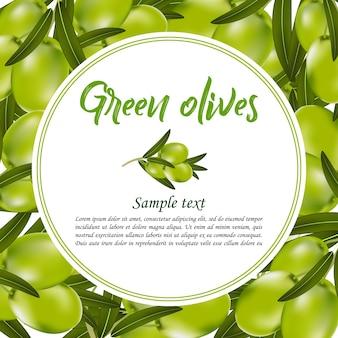 Etiqueta, etiqueta ou fundo com azeitonas verdes realistas