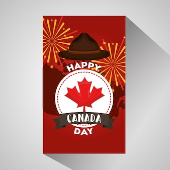 Etiqueta feliz do dia de canadá e cartão dos fogos-de-artifício do chapéu