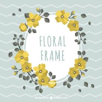 Etiqueta floral com flores amarelas