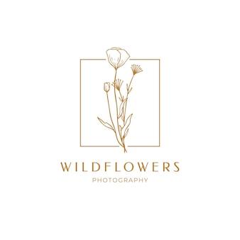 Etiqueta floral de papoula para pacote. desenho de logotipo linear de flores silvestres. emblema do quadro floral para casamento, marca de fotógrafo, design. delinear ervas vintage mão desenhada. ilustração vetorial isolada no fundo