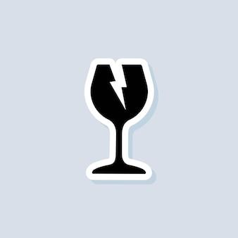 Etiqueta frágil. sinal de aviso do símbolo de vidro. símbolo de embalagem. vetor em fundo isolado. eps 10.