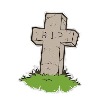 Etiqueta grave do remendo da garatuja do cemitério de dia das bruxas.
