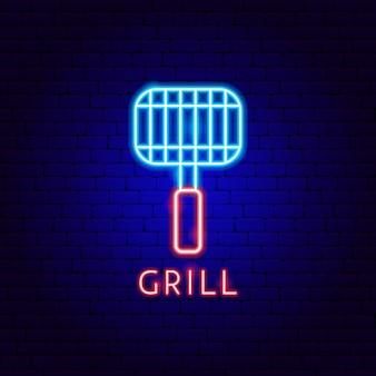 Etiqueta grill neon. ilustração em vetor de promoção de churrasco.