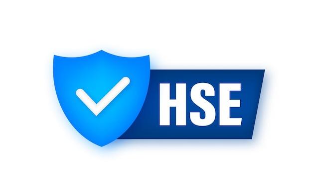 Etiqueta hse. saúde, segurança, meio ambiente. design de ícones. segurança no trabalho projeto de cartaz ilustração em vetor estoque.