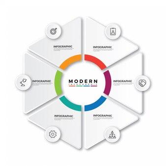 Etiqueta infográfico com ícones e 6 opções ou etapas