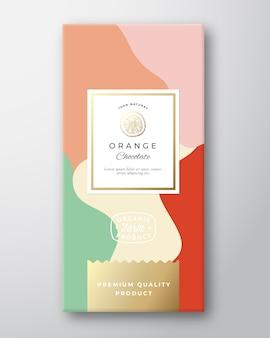 Etiqueta laranja do chocolate.