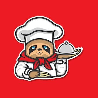 Etiqueta lenta da ilustração do cozinheiro chefe dos loris