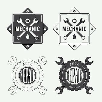 Etiqueta mecânica vintage, emblema e logotipo. ilustração vetorial