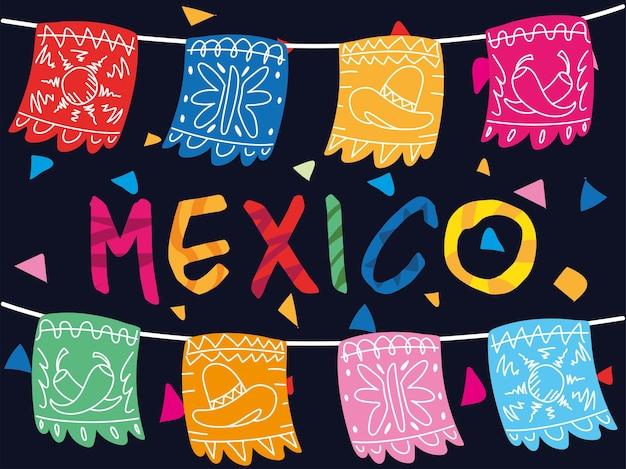 Etiqueta mexicana com desenho de guirlanda decorativa mexicana