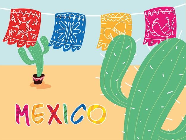 Etiqueta mexicana com guirlandas decorativas e desenho de cactos