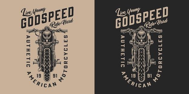 Etiqueta monocromática de motocicleta americana com motocicleta clássica em estilo vintage