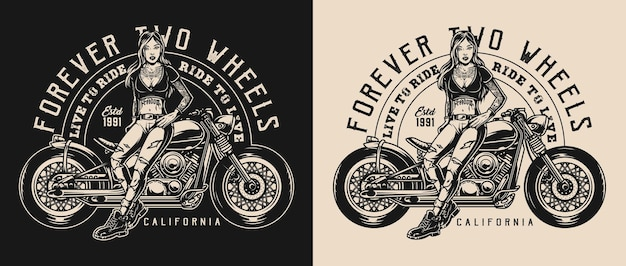 Etiqueta monocromática vintage de motocicleta com inscrições e uma mulher atraente em pé perto de moto bike em fundos escuros e claros