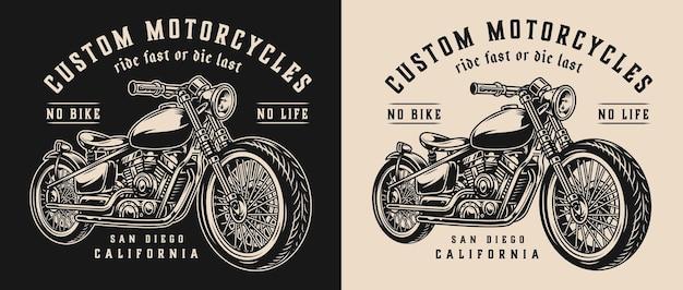 Etiqueta monocromática vintage de motocicleta personalizada com motocicleta em fundos escuros e claros