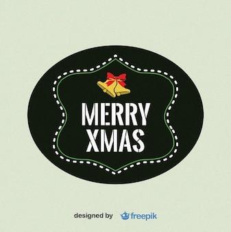 Etiqueta natal alegre com sinos no superior