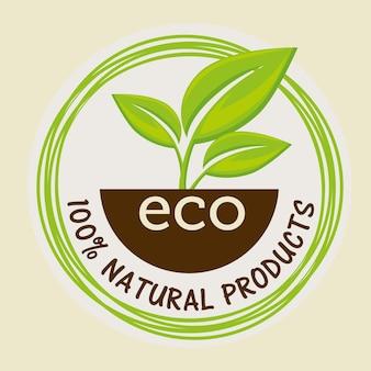 Etiqueta natural de 100 por cento com folhas e solo sobre o fundo bege. ilustração vetorial.