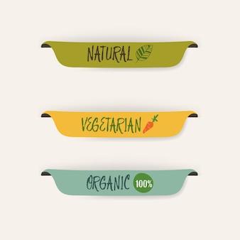 Etiqueta natural e cor verde e bandeira da etiqueta orgânica.